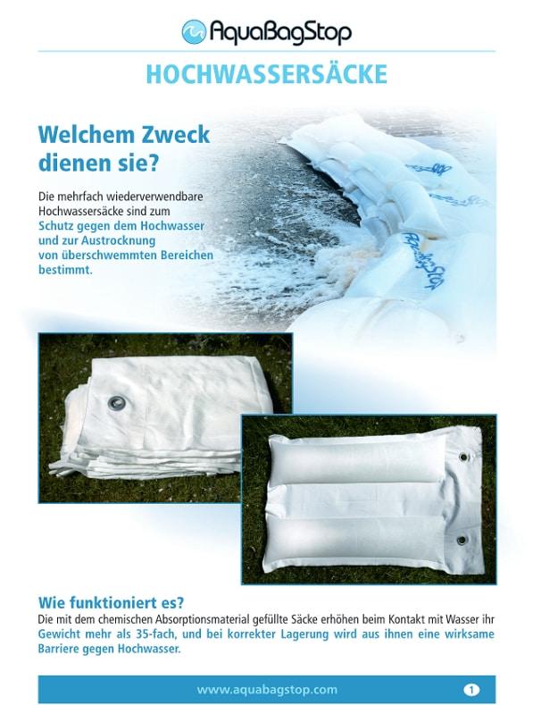 AquaBagStop hochwassersäcke Produktflyer